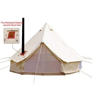 Playdo 4-Season Waterproof Cotton Canvas Large Family Camp Bell Tent