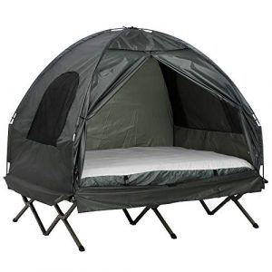 Outsunny Extra Large Compact Pop-Up Portable Folding Outdoor Elevated All in One Camping Cot Tent Combo Set