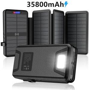 QiSa Solar Charger + 35800mAh Solar Power Bank